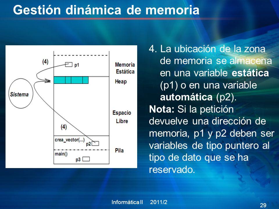Gestión dinámica de memoria Informática II 2011/2 29 4.