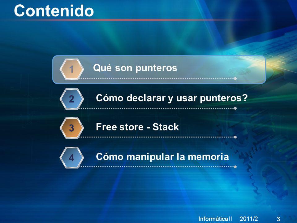 Contenido Informática II 2011/2 3 Qué son punteros 1 Cómo declarar y usar punteros.