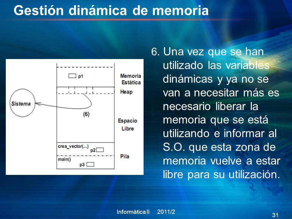 Gestión dinámica de memoria Informática II 2011/2 31 6.