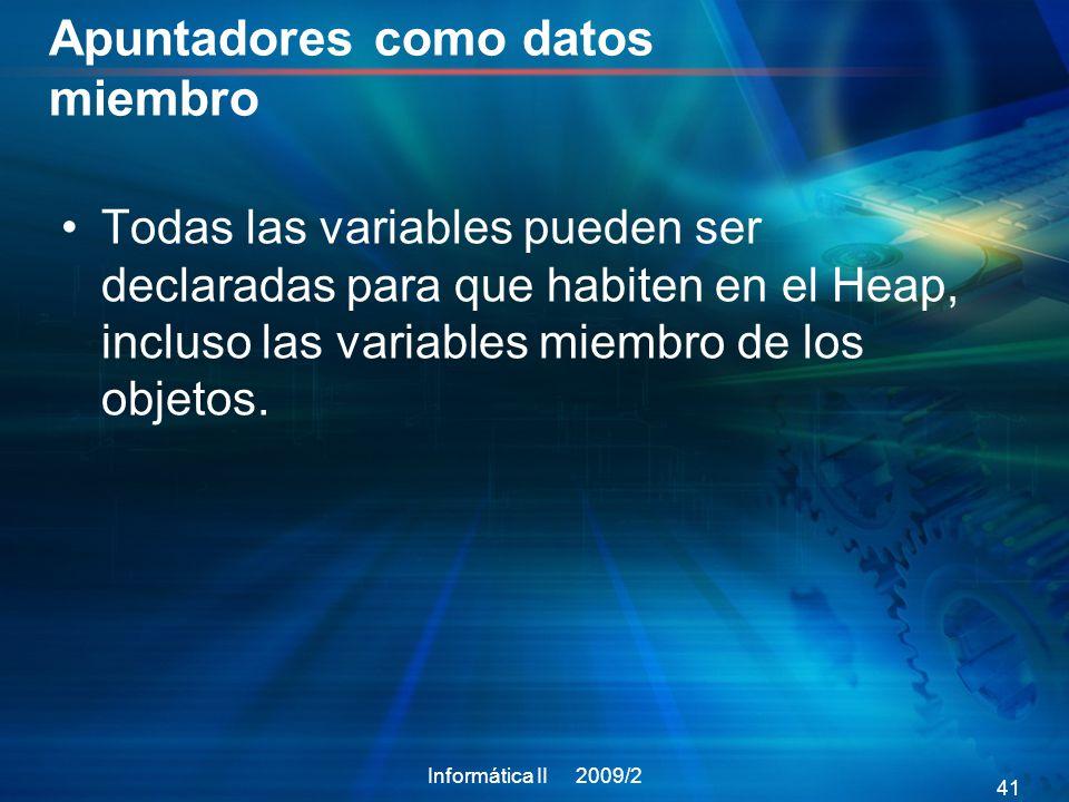 Apuntadores como datos miembro Todas las variables pueden ser declaradas para que habiten en el Heap, incluso las variables miembro de los objetos.