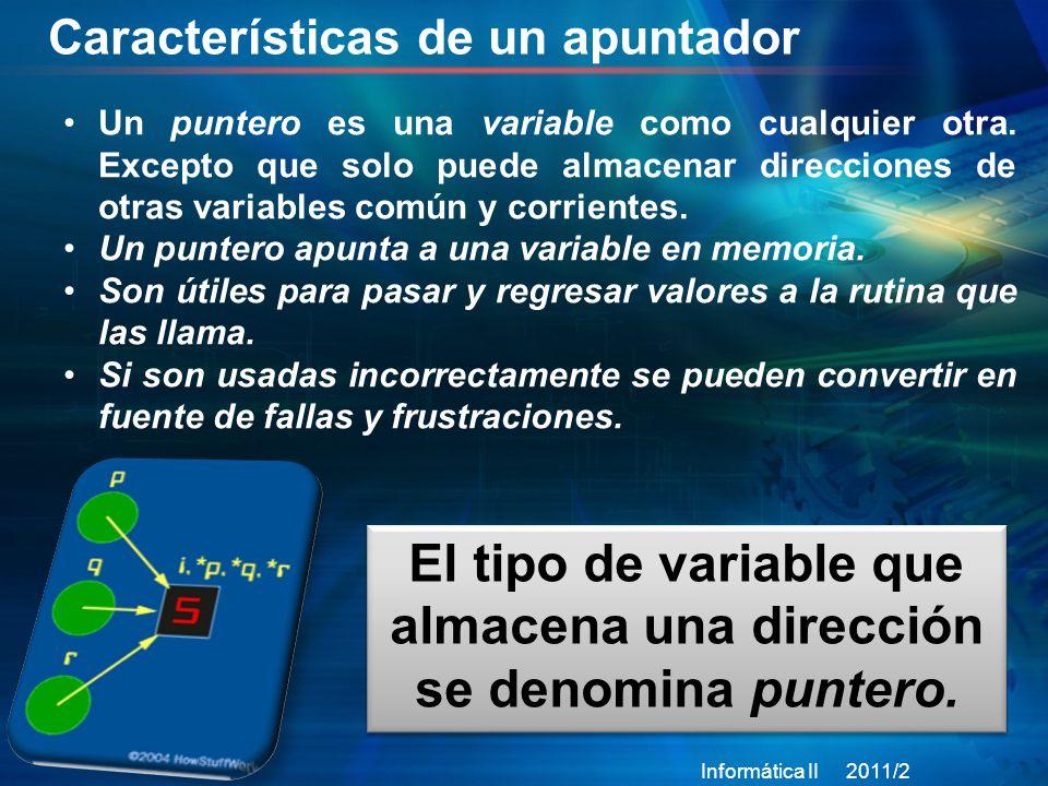 Punteros Informática II 2011/2 6 Los punteros siempre deben inicializarse.
