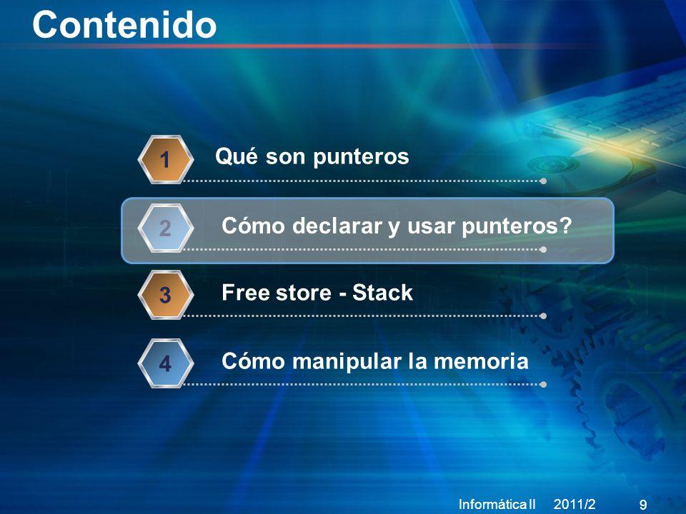 Contenido Informática II 2011/2 9 Qué son punteros 1 Cómo declarar y usar punteros.
