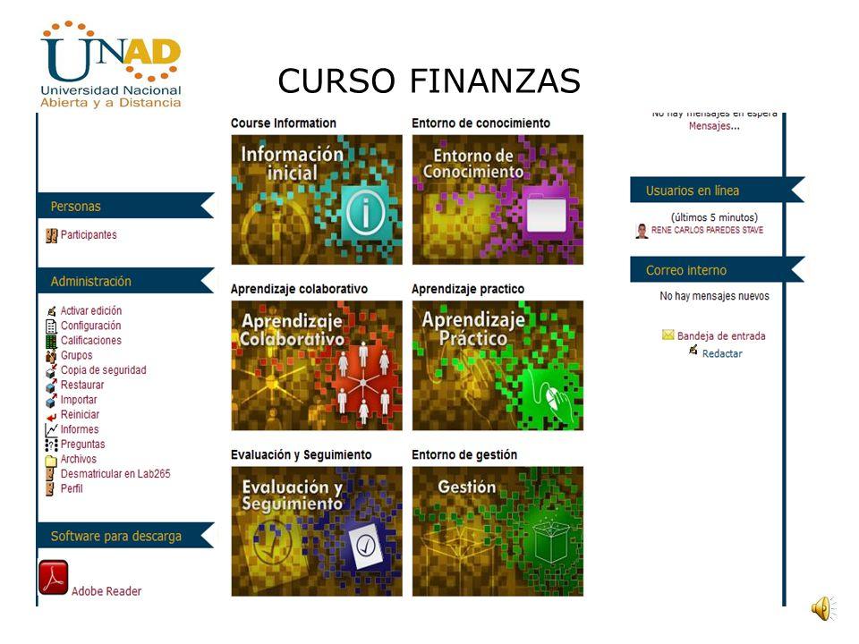 CURSO FINANZAS PROPÓSITOS DEL CURSO Formar un estudiante que este en la capacidad de interpretar los datos presentados en los estados financieros que