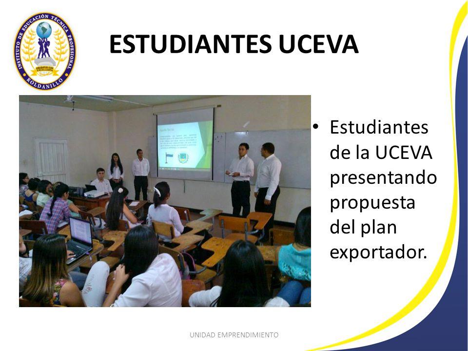 ESTUDIANTES UCEVA Estudiantes de la UCEVA presentando propuesta del plan exportador.