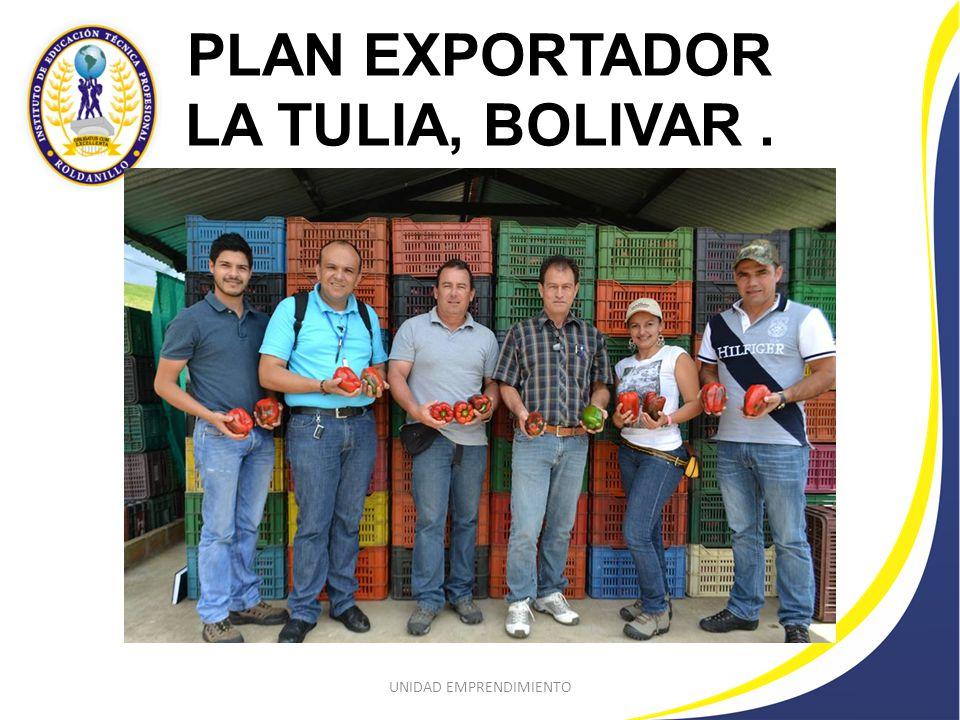 PLAN EXPORTADOR LA TULIA, BOLIVAR. UNIDAD EMPRENDIMIENTO
