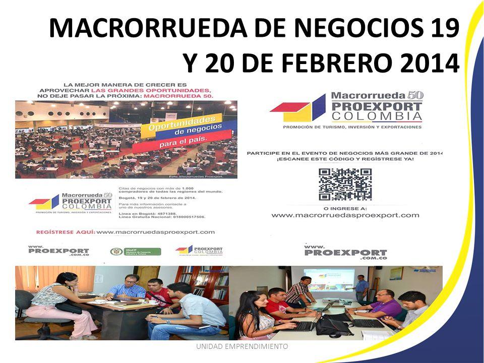 MACRORRUEDA DE NEGOCIOS 19 Y 20 DE FEBRERO 2014 UNIDAD EMPRENDIMIENTO