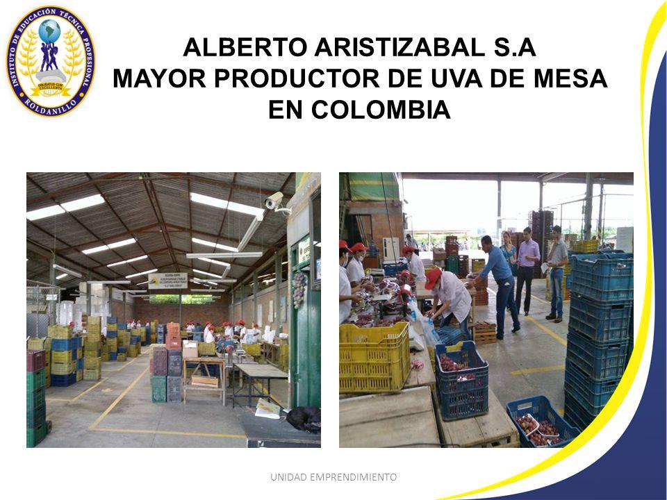 ALBERTO ARISTIZABAL S.A MAYOR PRODUCTOR DE UVA DE MESA EN COLOMBIA UNIDAD EMPRENDIMIENTO