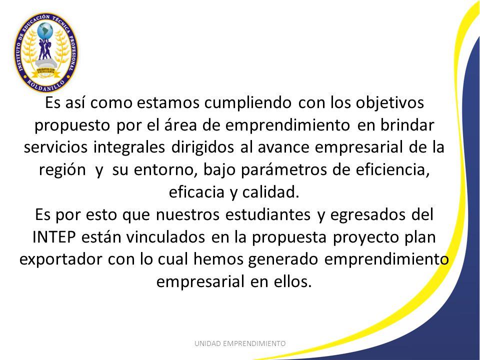 PROYECTO PLAN EXPORTADOR Con Alberto Aristizabal S.A se logra convenio de prácticas empresariales para alumnos del INTEP en las diferentes carreras, como también se analizará la viabilidad de proyectos de investigación en dicha empresa.