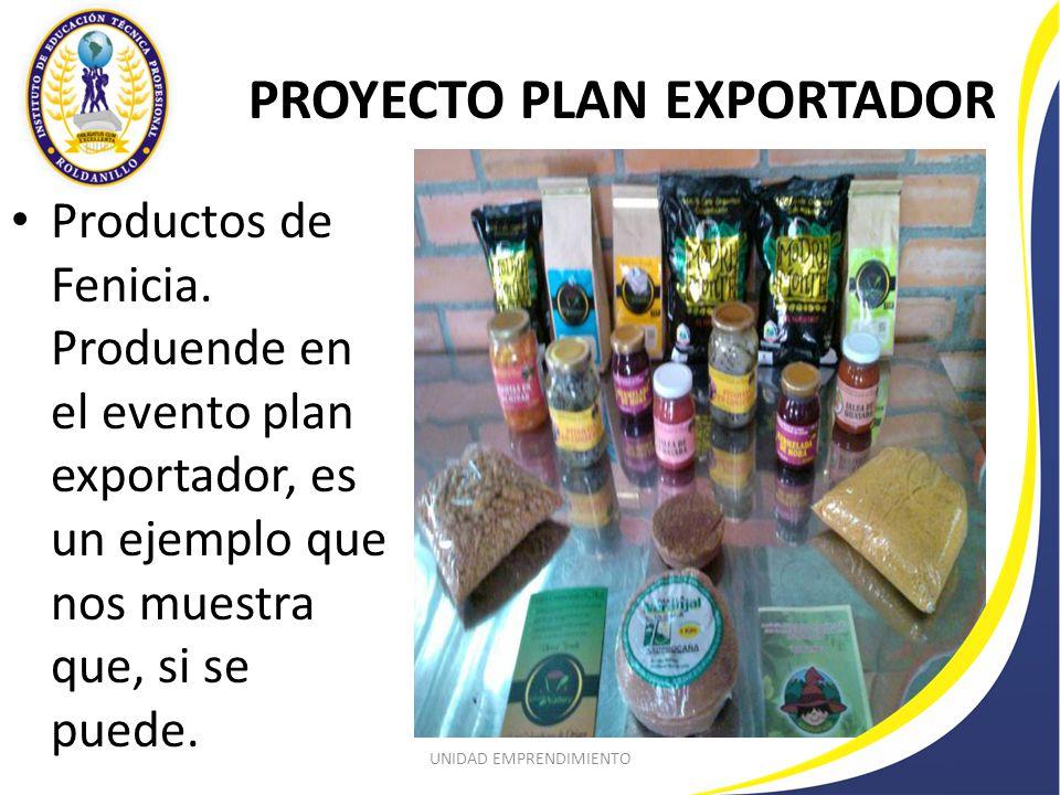 PROYECTO PLAN EXPORTADOR Productos de Fenicia.