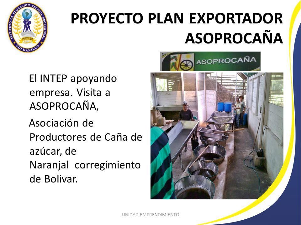 PROYECTO PLAN EXPORTADOR ASOPROCAÑA UNIDAD EMPRENDIMIENTO El INTEP apoyando empresa.