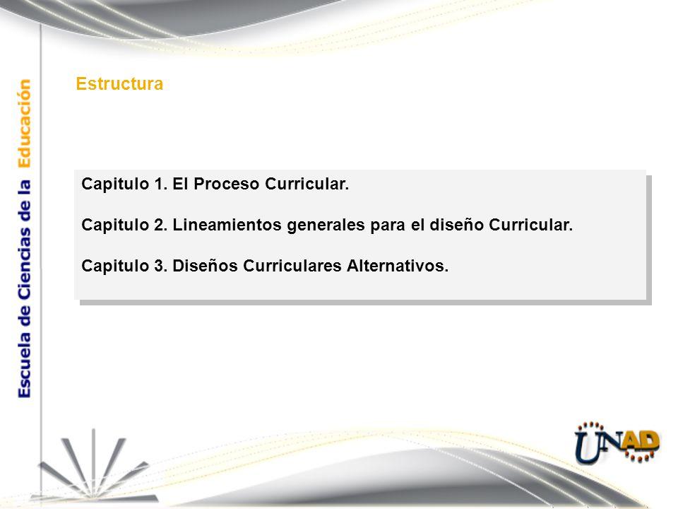 Capitulo 1. El Proceso Curricular. Capitulo 2. Lineamientos generales para el diseño Curricular.
