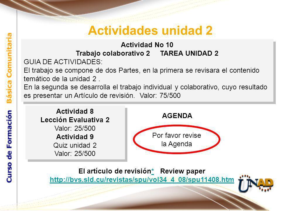 Actividad No 10 Trabajo colaborativo 2 TAREA UNIDAD 2 GUIA DE ACTIVIDADES: El trabajo se compone de dos Partes, en la primera se revisara el contenido temático de la unidad 2.
