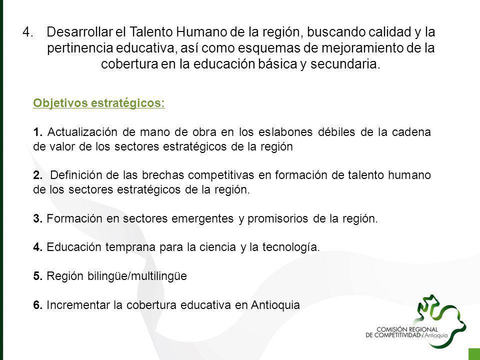 4.Desarrollar el Talento Humano de la región, buscando calidad y la pertinencia educativa, así como esquemas de mejoramiento de la cobertura en la edu