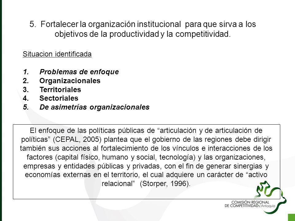 5.Fortalecer la organización institucional para que sirva a los objetivos de la productividad y la competitividad. Situacion identificada 1.Problemas