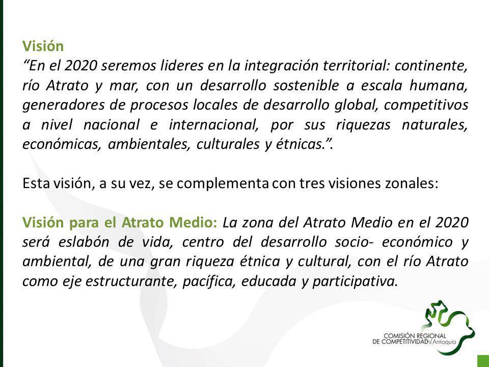 Visión En el 2020 seremos lideres en la integración territorial: continente, río Atrato y mar, con un desarrollo sostenible a escala humana, generador