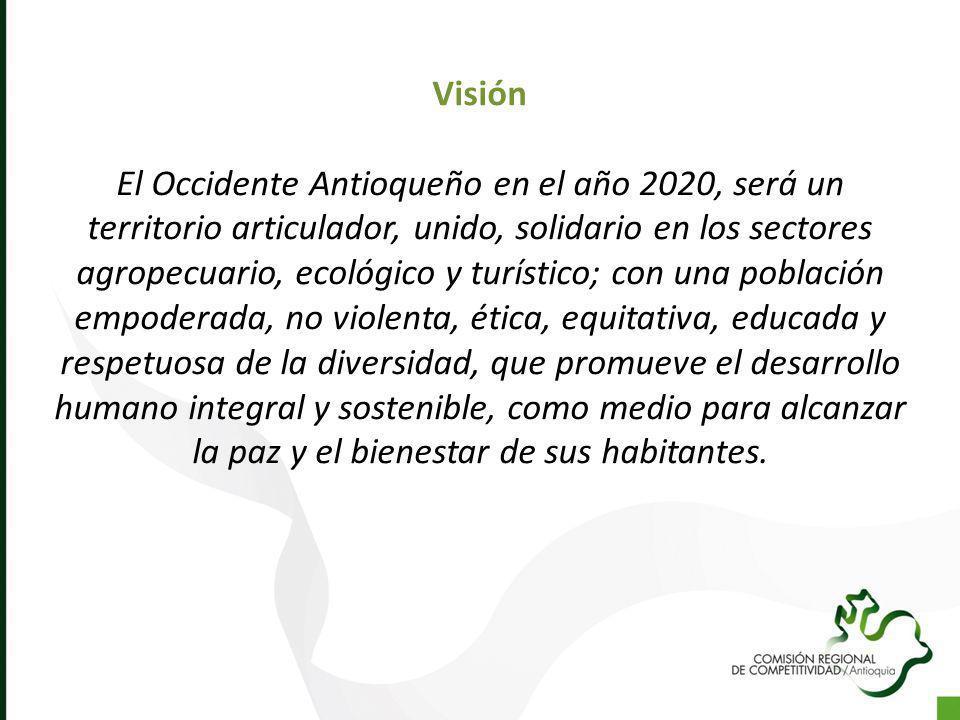Visión El Occidente Antioqueño en el año 2020, será un territorio articulador, unido, solidario en los sectores agropecuario, ecológico y turístico; c
