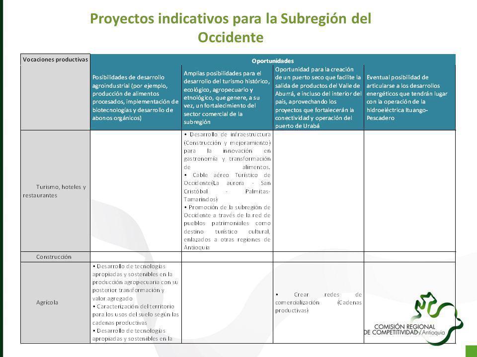 Proyectos indicativos para la Subregión del Occidente