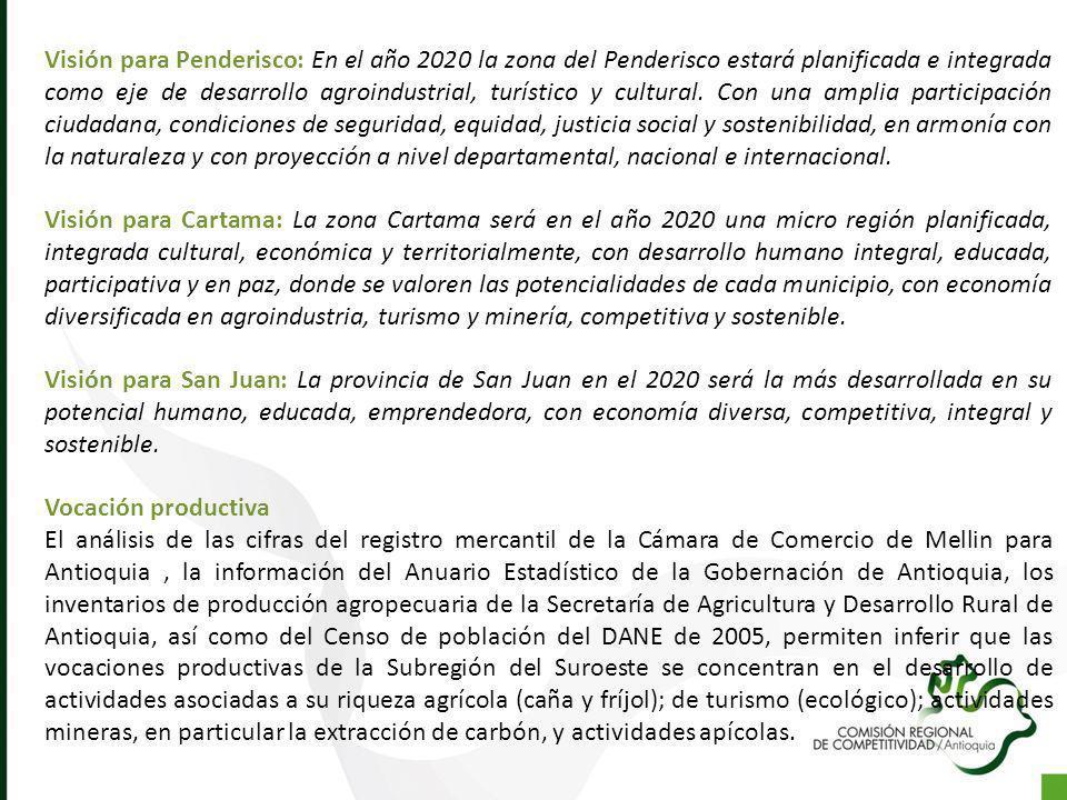 Visión para Penderisco: En el año 2020 la zona del Penderisco estará planificada e integrada como eje de desarrollo agroindustrial, turístico y cultur