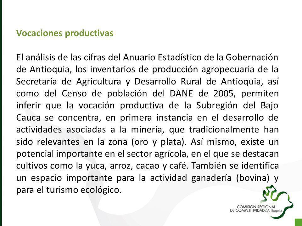 Vocaciones productivas El análisis de las cifras del Anuario Estadístico de la Gobernación de Antioquia, los inventarios de producción agropecuaria de