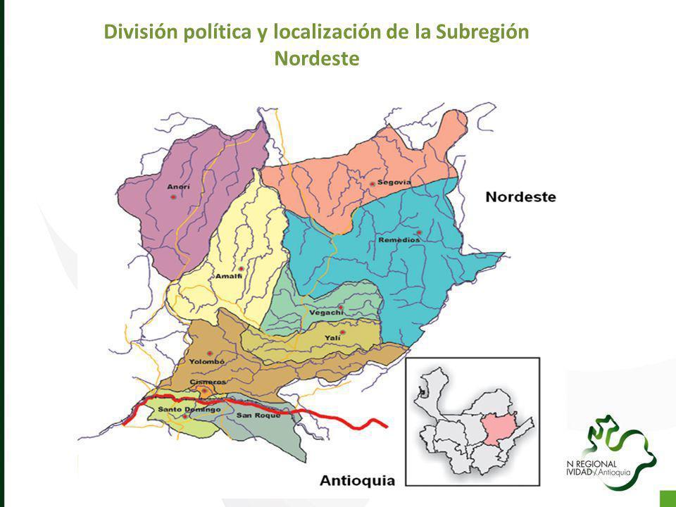 División política y localización de la Subregión Nordeste