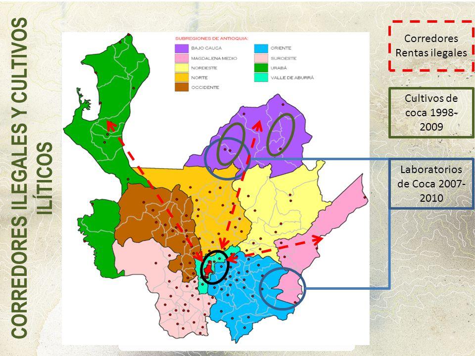Laboratorios de Coca 2007- 2010 Cultivos de coca 1998- 2009 Corredores Rentas ilegales CORREDORES ILEGALES Y CULTIVOS ILÍTICOS