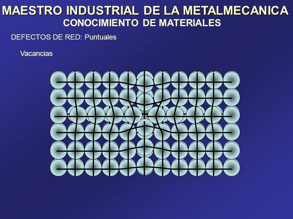 MAESTRO INDUSTRIAL DE LA METALMECANICA CONOCIMIENTO DE MATERIALES DEFECTOS DE RED: Puntuales Sustitucional Átomo pequeño