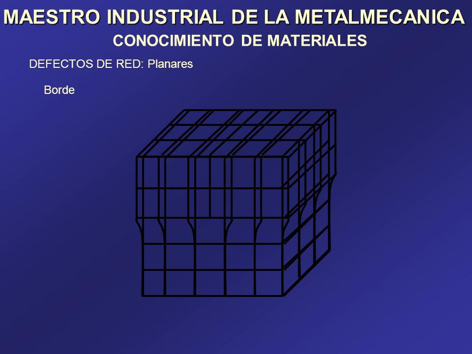 MAESTRO INDUSTRIAL DE LA METALMECANICA DEFECTOS DE RED: Planares Borde CONOCIMIENTO DE MATERIALES