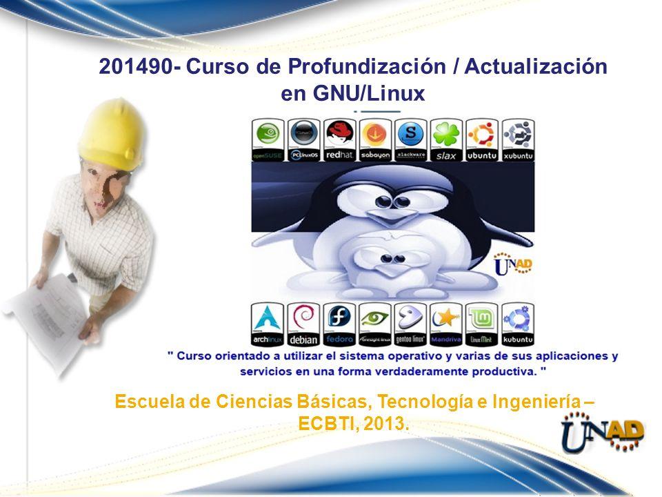 201490- Curso de Profundización / Actualización en GNU/Linux Escuela de Ciencias Básicas, Tecnología e Ingeniería – ECBTI, 2013.