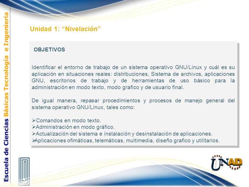 Estructura Nivelación Distribuciones, Sistema de archivos, aplicaciones GNU y escritorios de trabajo Comandos en modo texto y administración en modo grafico Herramientas Ofimáticas, Telemáticas, multimedia, Diseño gráfico y Utilitarios Distribuciones más utilizadas Sistema de Archivos Administración de discos Escritorios de trabajo GNU/Linux.