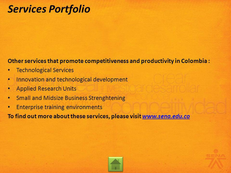 Other services that promote competitiveness and productivity in Colombia : Technological Services Innovation and technological development Applied Res