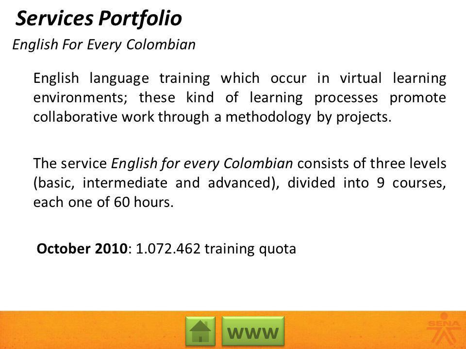 English For Every Colombian English language training which occur in virtual learning environments; these kind of learning processes promote collabora