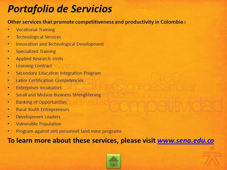 Other services that promote competitiveness and productivity in Colombia : Vocational Training Technological Services Innovation and Technological Dev