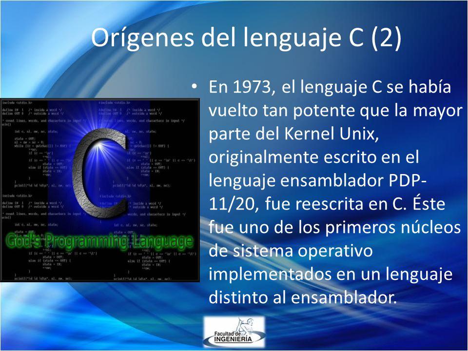 En 1973, el lenguaje C se había vuelto tan potente que la mayor parte del Kernel Unix, originalmente escrito en el lenguaje ensamblador PDP- 11/20, fu