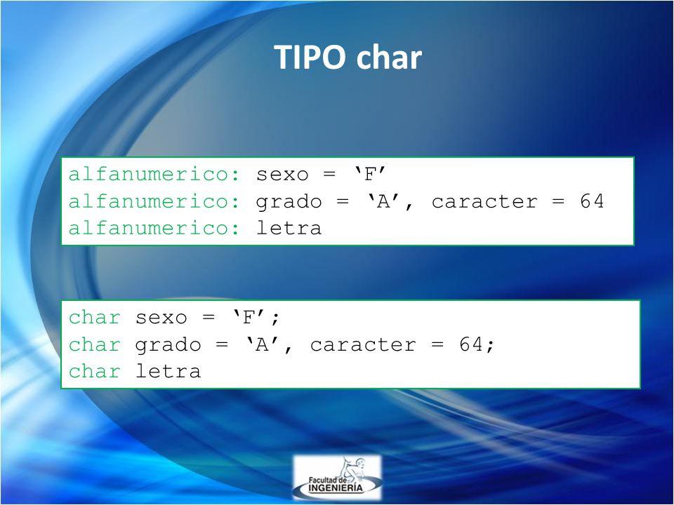 alfanumerico: sexo = F alfanumerico: grado = A, caracter = 64 alfanumerico: letra char sexo = F; char grado = A, caracter = 64; char letra