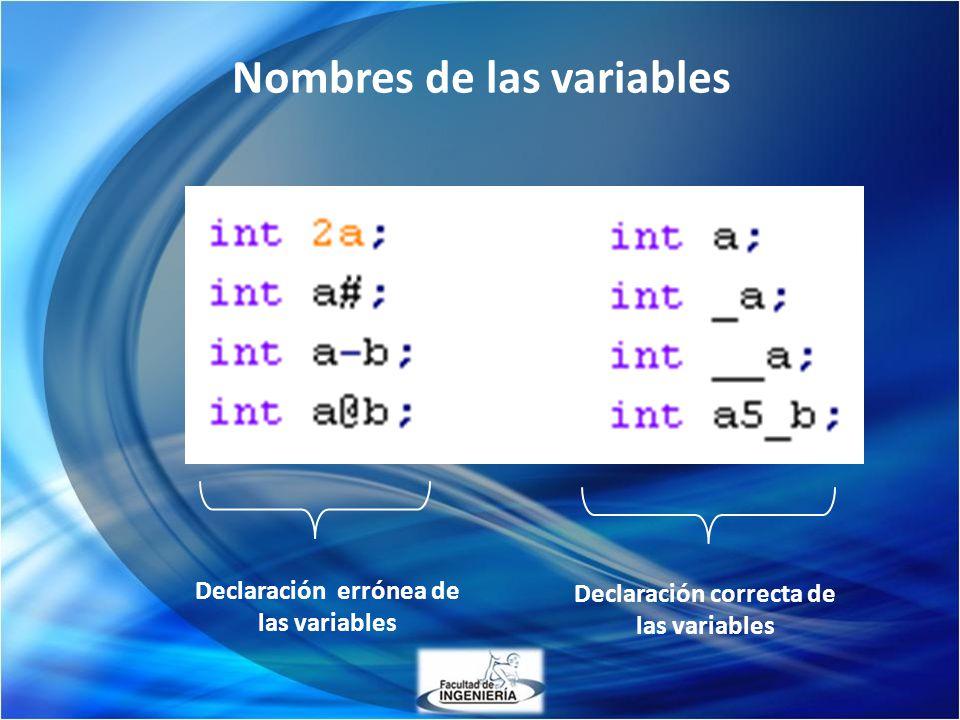 Nombres de las variables Declaración errónea de las variables Declaración correcta de las variables