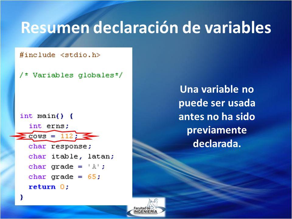 Resumen declaración de variables Una variable no puede ser usada antes no ha sido previamente declarada.