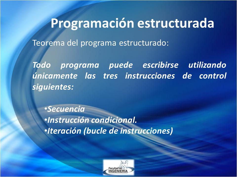 Programación estructurada Teorema del programa estructurado: Todo programa puede escribirse utilizando únicamente las tres instrucciones de control si