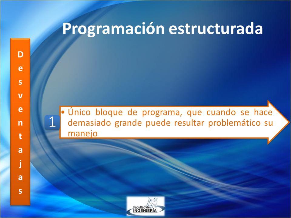 Programación estructurada Único bloque de programa, que cuando se hace demasiado grande puede resultar problemático su manejo 1