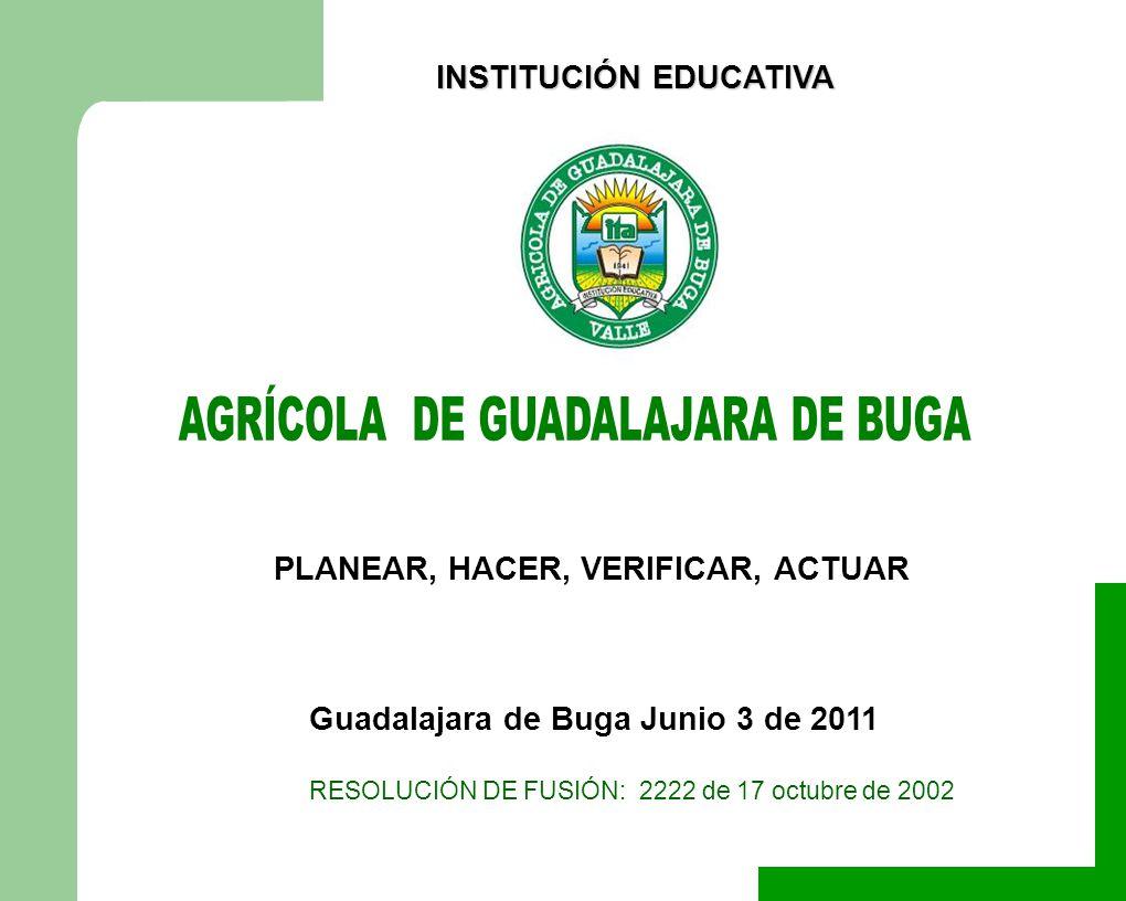 RESOLUCIÓN DE FUSIÓN: 2222 de 17 octubre de 2002 Guadalajara de Buga Junio 3 de 2011 PLANEAR, HACER, VERIFICAR, ACTUAR INSTITUCIÓN EDUCATIVA