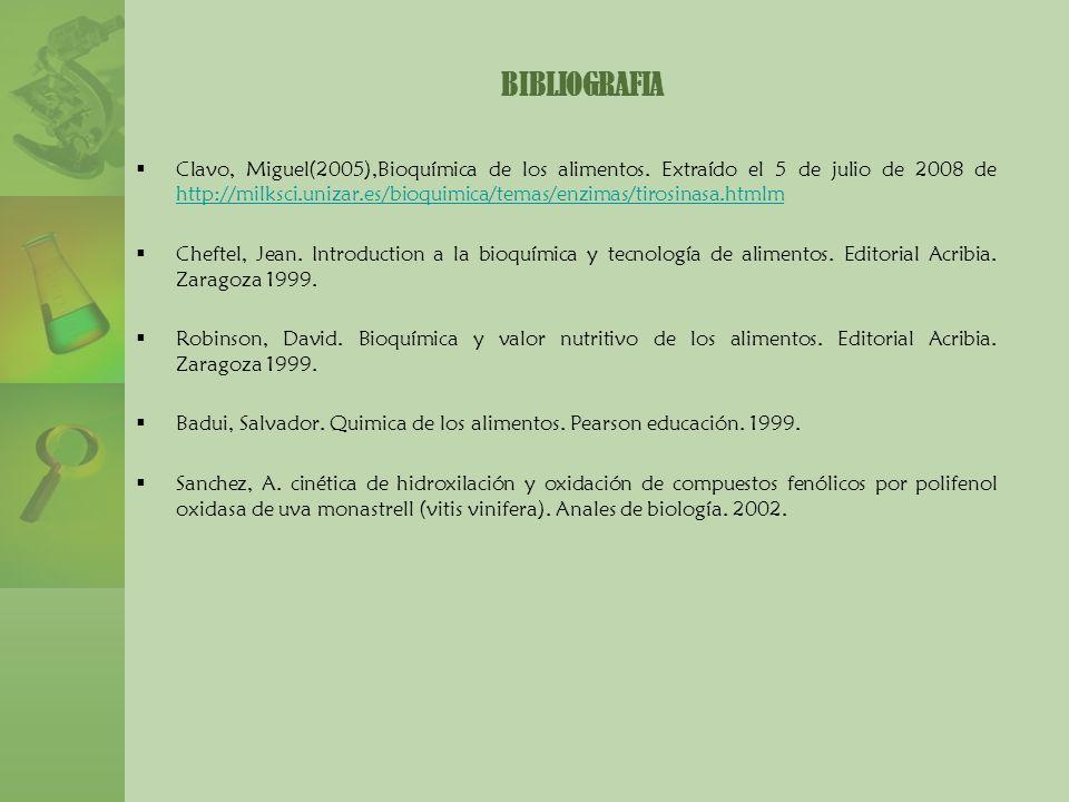 Clavo, Miguel(2005),Bioquímica de los alimentos. Extraído el 5 de julio de 2008 de http://milksci.unizar.es/bioquimica/temas/enzimas/tirosinasa.htmlm