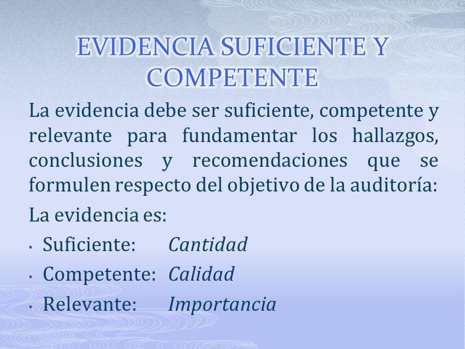 La evidencia debe ser suficiente, competente y relevante para fundamentar los hallazgos, conclusiones y recomendaciones que se formulen respecto del o