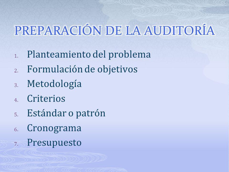 1. Planteamiento del problema 2. Formulación de objetivos 3. Metodología 4. Criterios 5. Estándar o patrón 6. Cronograma 7. Presupuesto