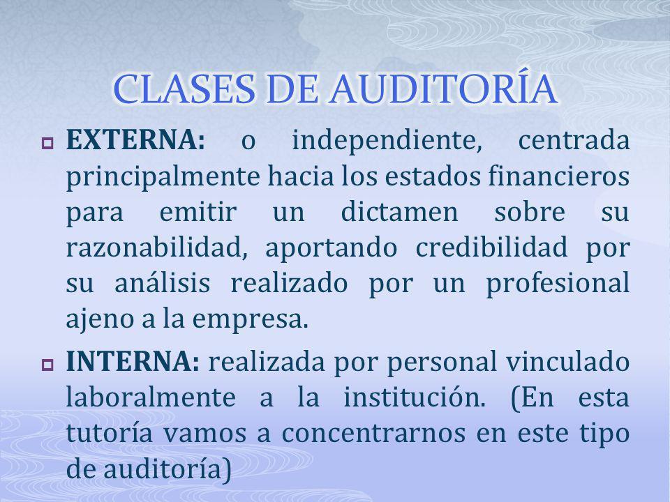 EXTERNA: o independiente, centrada principalmente hacia los estados financieros para emitir un dictamen sobre su razonabilidad, aportando credibilidad