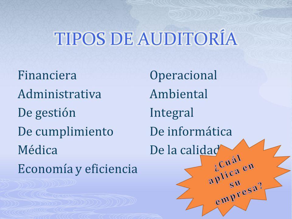 FinancieraOperacional AdministrativaAmbiental De gestiónIntegral De cumplimientoDe informática MédicaDe la calidad Economía y eficiencia