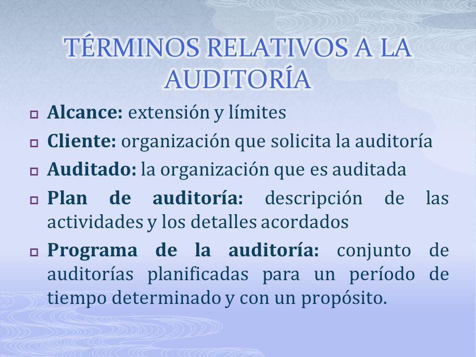 Alcance: extensión y límites Cliente: organización que solicita la auditoría Auditado: la organización que es auditada Plan de auditoría: descripción
