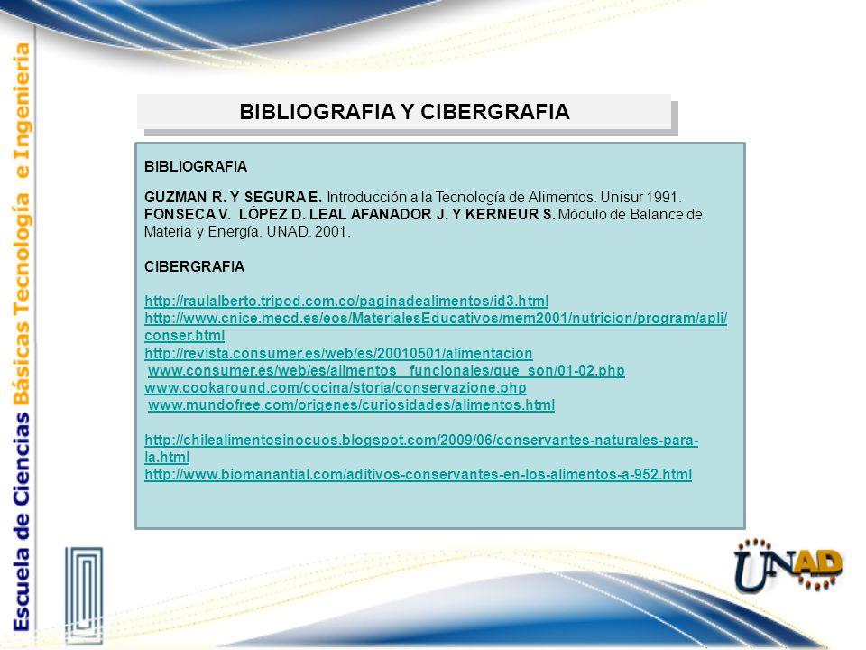 BIBLIOGRAFIA Y CIBERGRAFIA BIBLIOGRAFIA GUZMAN R. Y SEGURA E. Introducción a la Tecnología de Alimentos. Unisur 1991. FONSECA V. LÓPEZ D. LEAL AFANADO