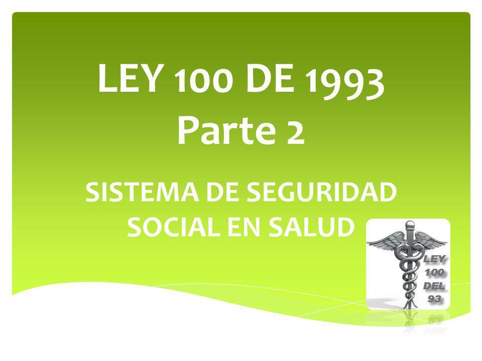 LEY 100 DE 1993 Parte 2 SISTEMA DE SEGURIDAD SOCIAL EN SALUD