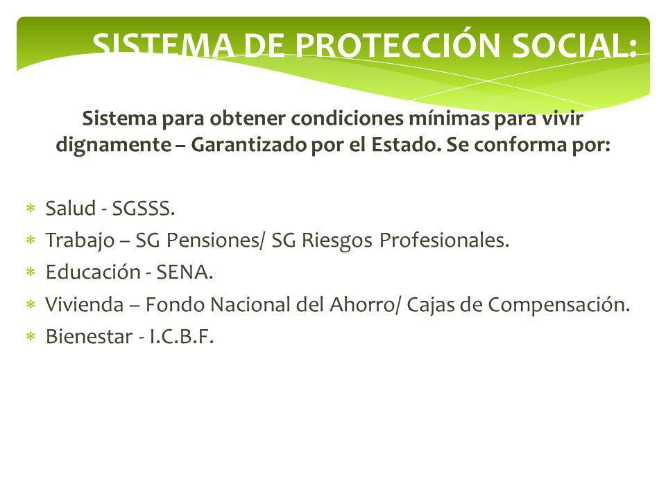 SISTEMA DE PROTECCIÓN SOCIAL: Sistema para obtener condiciones mínimas para vivir dignamente – Garantizado por el Estado. Se conforma por: Salud - SGS