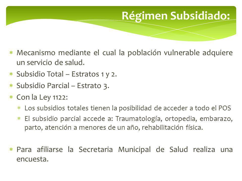 Régimen Subsidiado: Mecanismo mediante el cual la población vulnerable adquiere un servicio de salud. Subsidio Total – Estratos 1 y 2. Subsidio Parcia