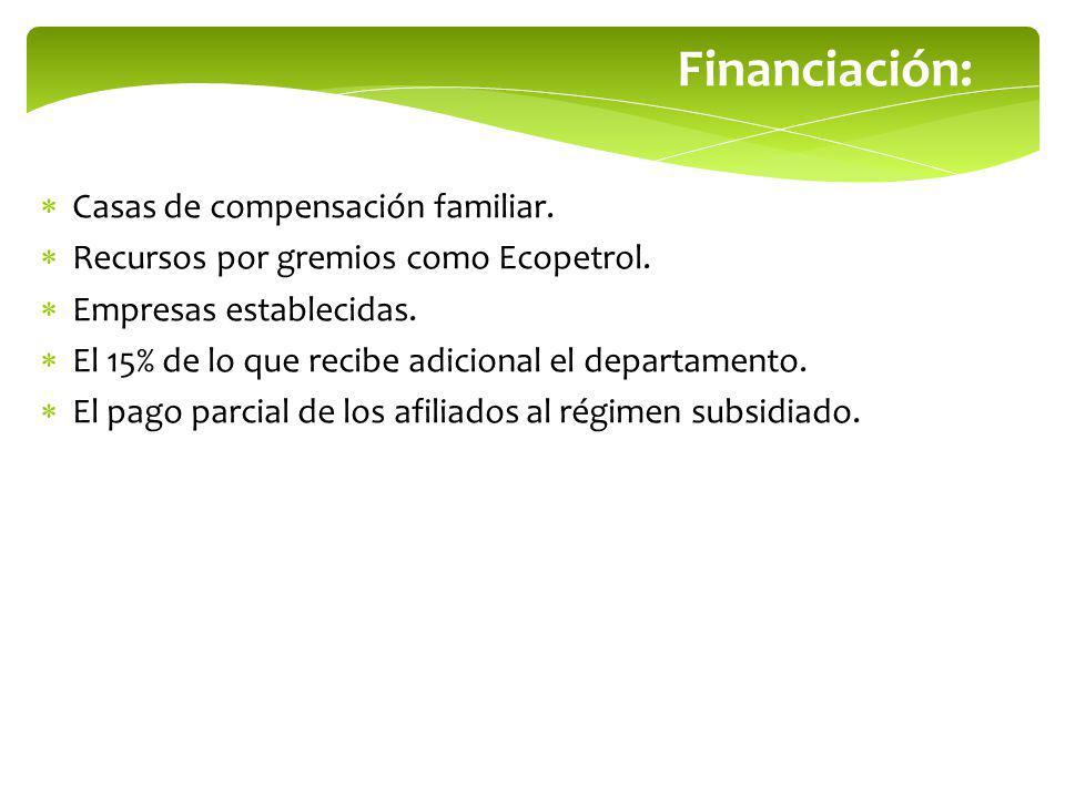 Financiación: Casas de compensación familiar. Recursos por gremios como Ecopetrol. Empresas establecidas. El 15% de lo que recibe adicional el departa